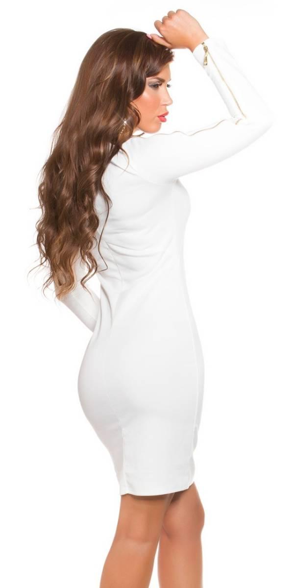 Alkalmi női ruha, cipzárral - fehér