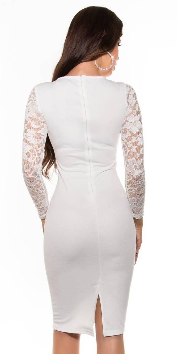 Alkalmi női ruha, elegáns midi - fehér