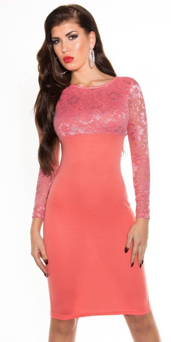 Alkalmi női ruha, elegáns midi - korall