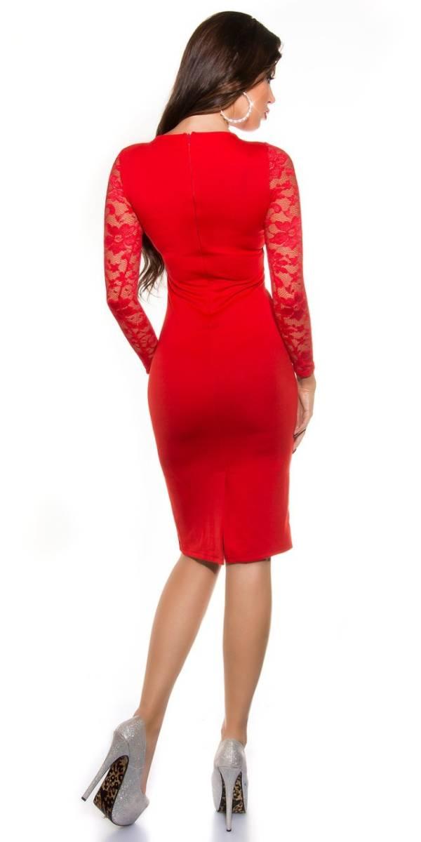 Alkalmi női ruha, elegáns midi - piros