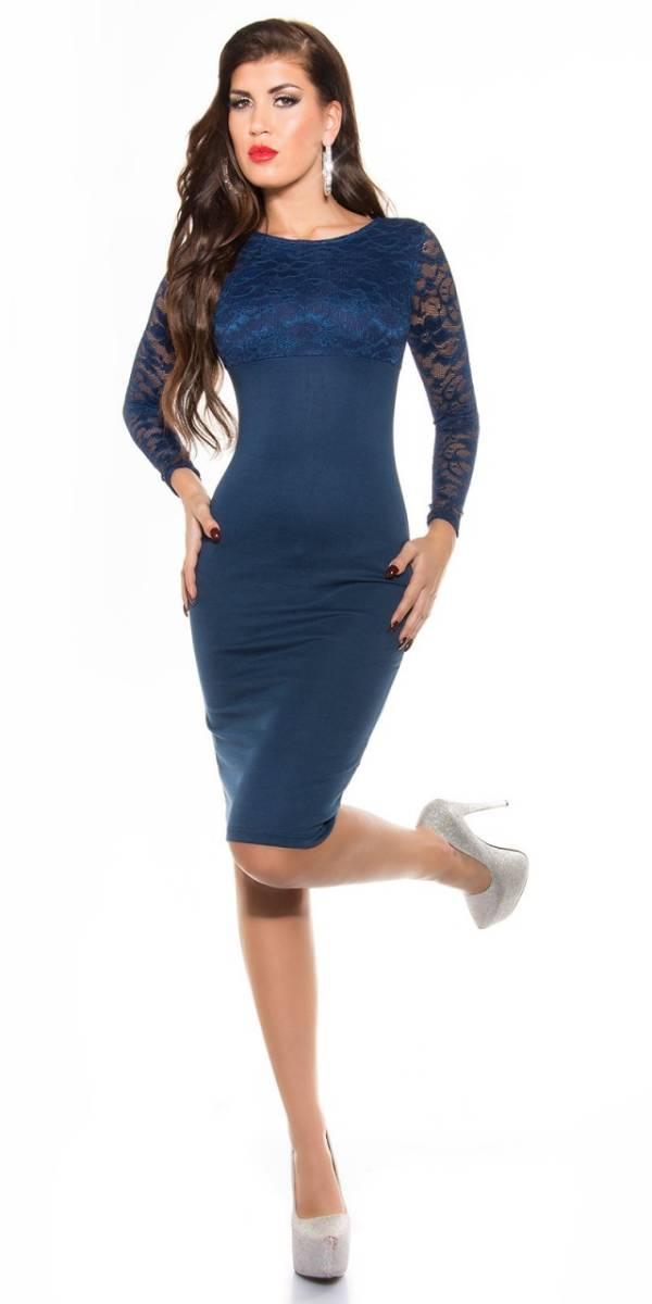 Alkalmi női ruha, elegáns midi - tengerészkék