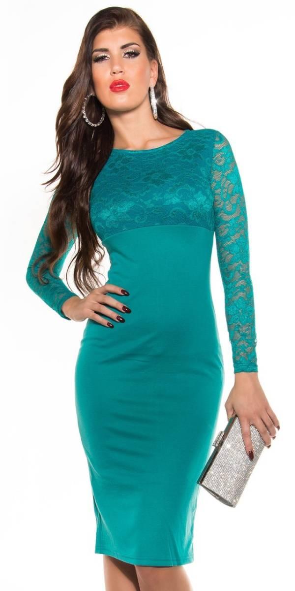 Alkalmi női ruha, elegáns midi - zafír