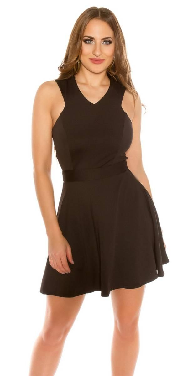 Alkalmi női ruha, hátán keresztezett - fekete