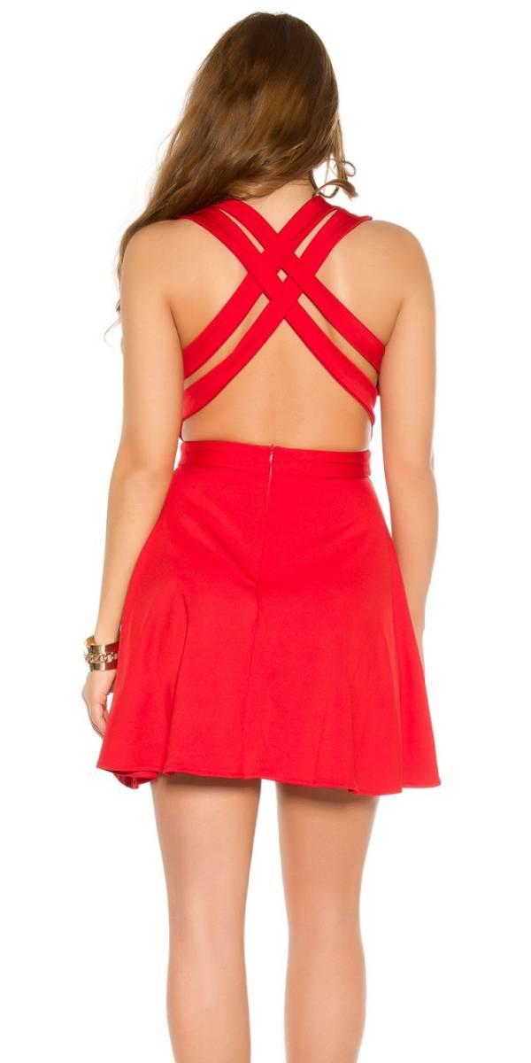 Alkalmi női ruha, hátán keresztezett - piros