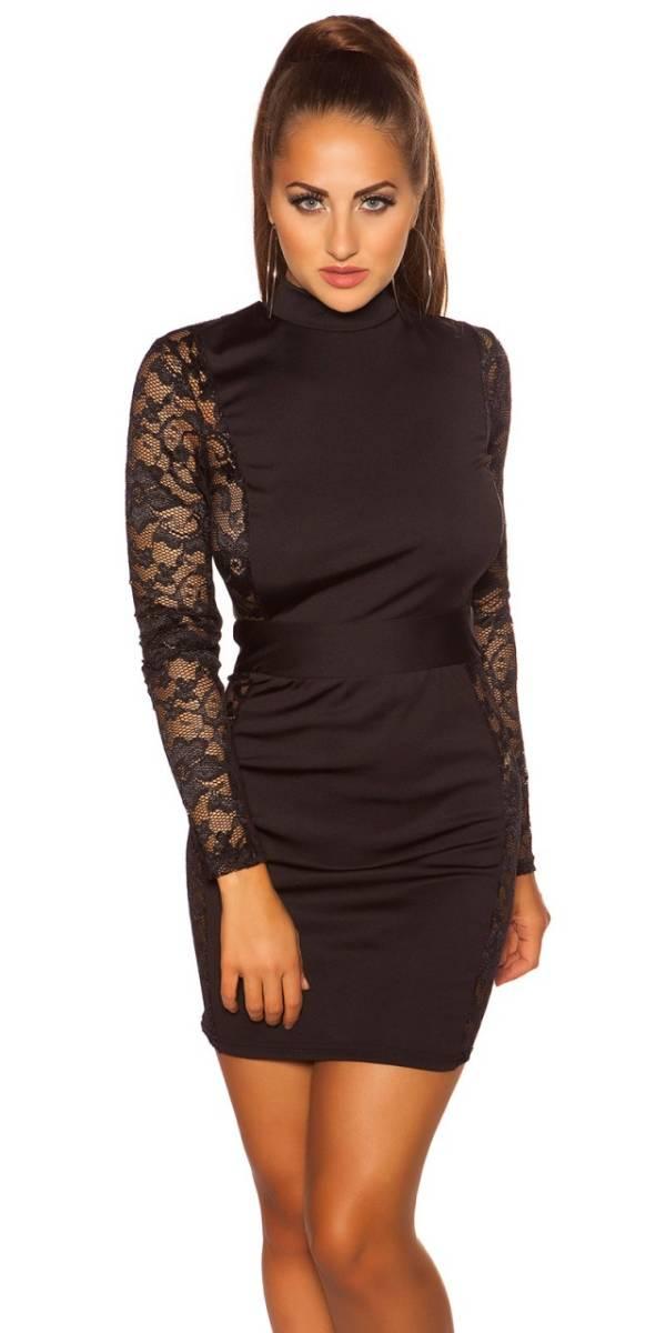 Alkalmi ruha, csipkés, nyitott hátú, GS - fekete