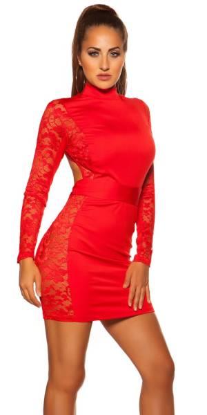Alkalmi ruha, csipkés, nyitott hátú, GS - piros