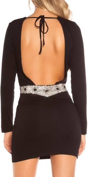 Alkalmi ruha, derekán díszes, GS07 - fekete