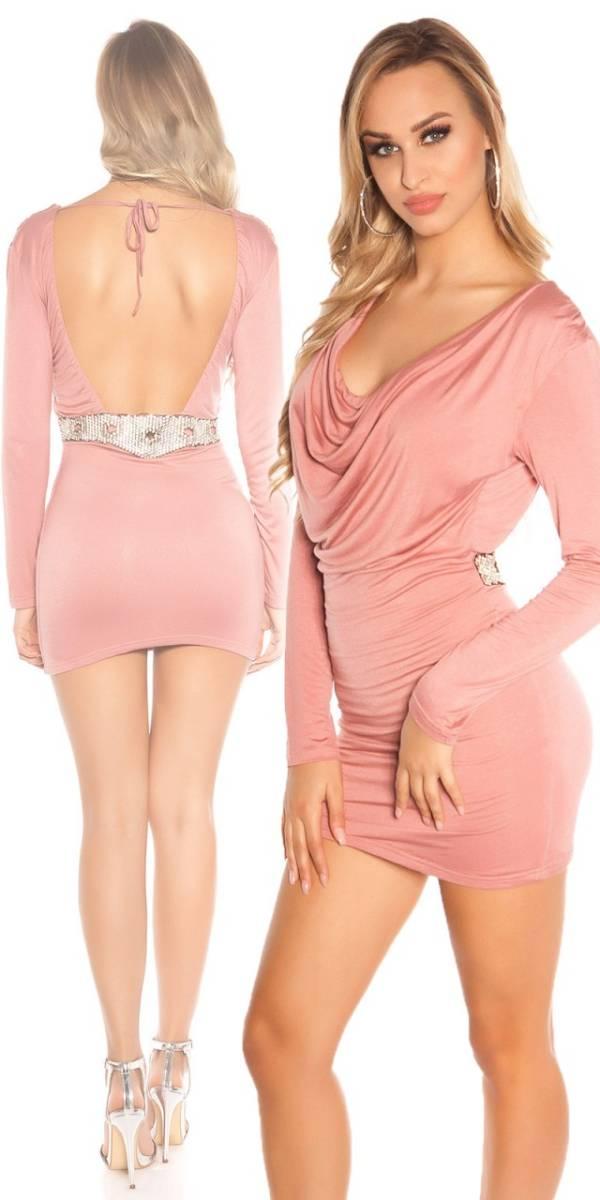 Alkalmi ruha, derekán díszes, GS07 - rózsaszín