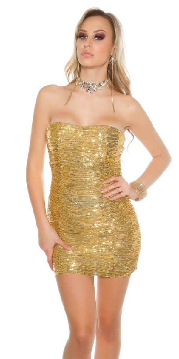 Alkalmi ruha, koktél, flitteres - arany