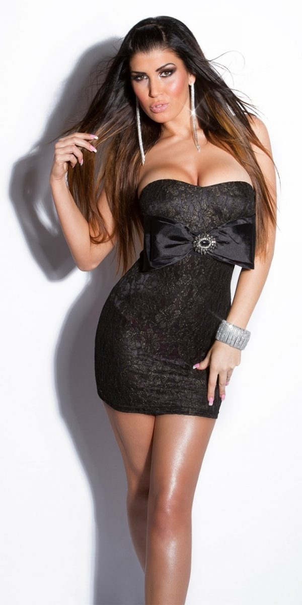 Alkalmi ruha, különleges, mini, masnis - fekete