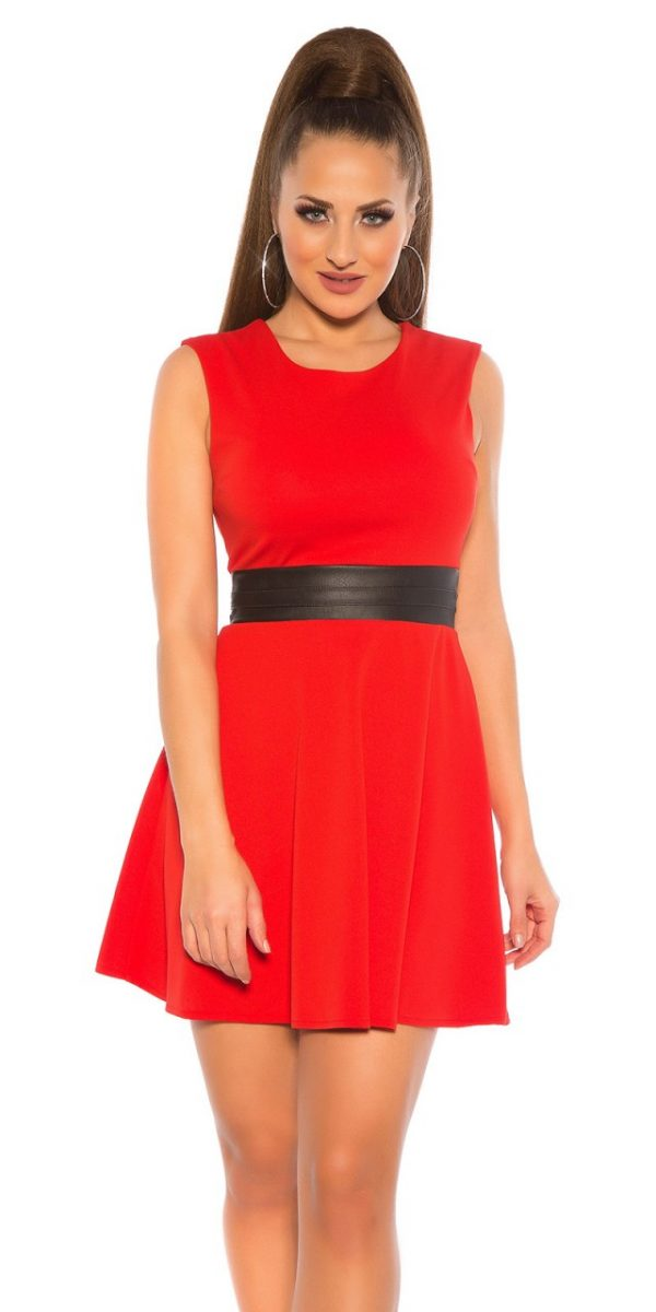 Alkalmi ruha, női, bőrhatású derekú - piros