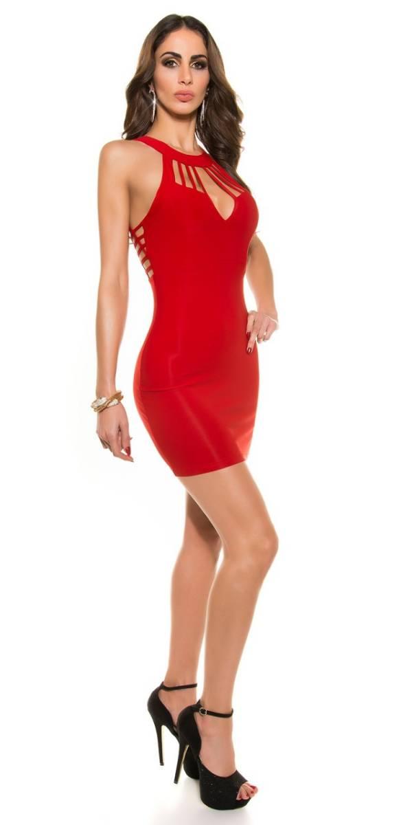 Alkalmi ruha, rácsos, női - piros