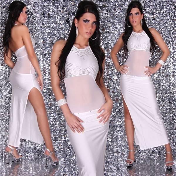 Estélyi ruha, szexis, strasszokkal - fehér
