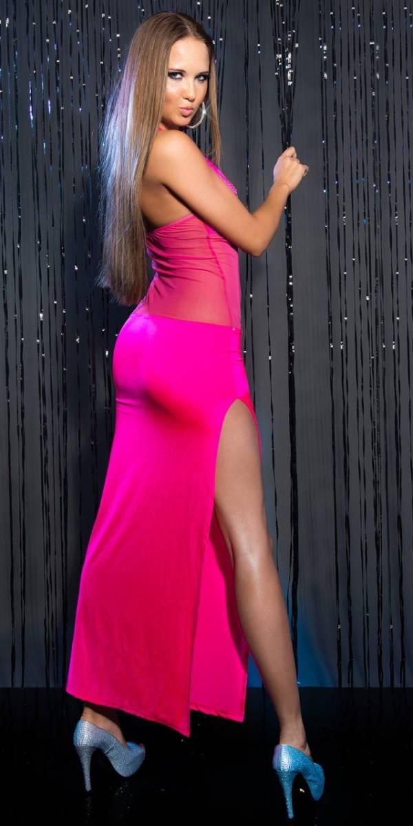 Estélyi ruha, szexis, strasszokkal - pink