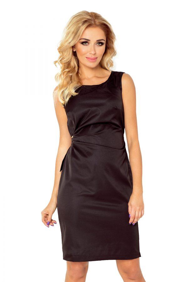 Koktélruha, egyszínű, ujjatlan, fekete, 126-1