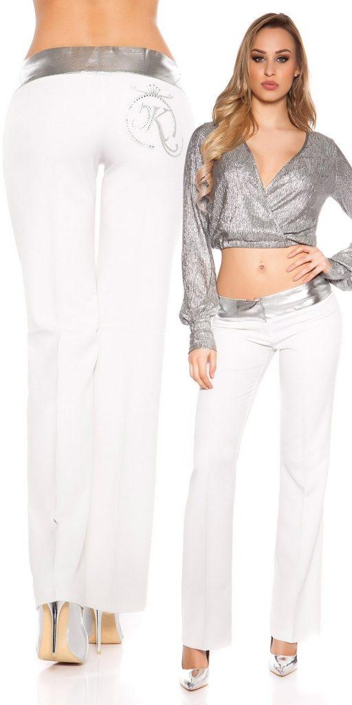 Női nadrág gs58704 - fehér-ezüst