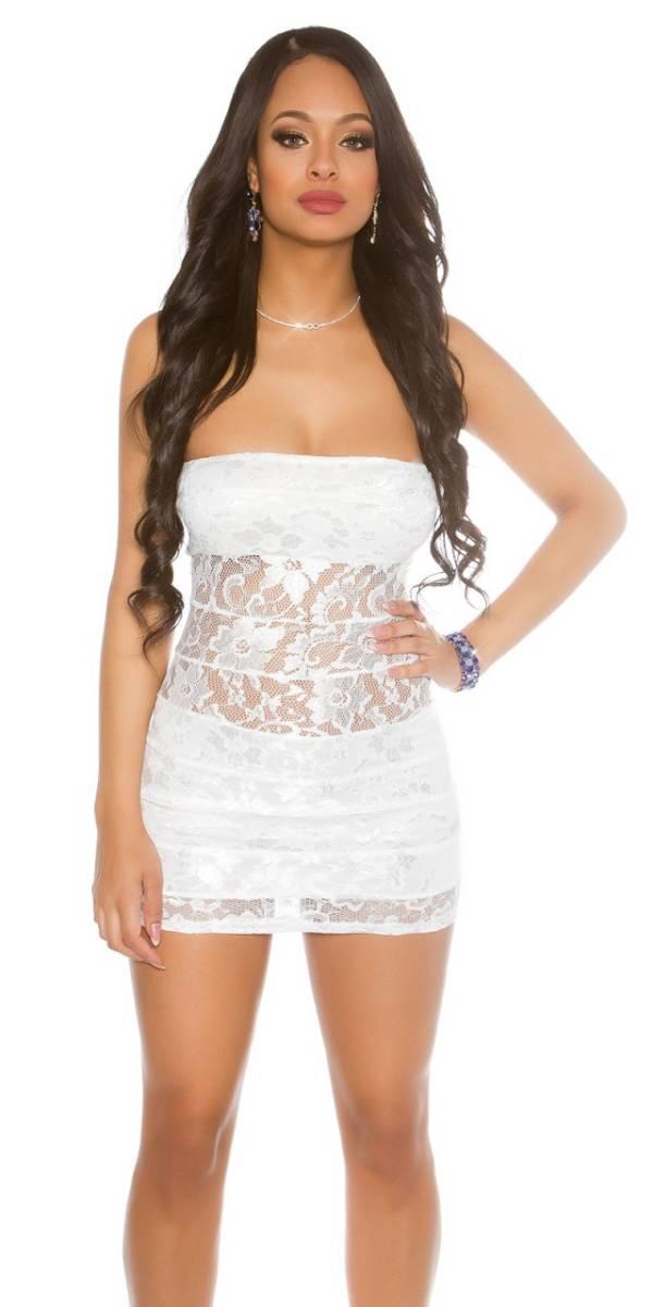 Party ruha, csipkés, mini - fehér
