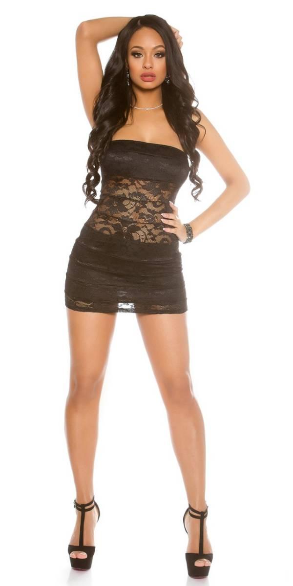 Party ruha, csipkés, mini - fekete