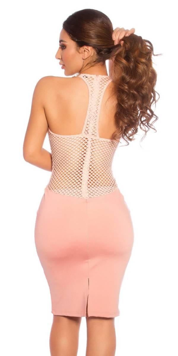 Party ruha, derekán necc betétes - rózsaszín