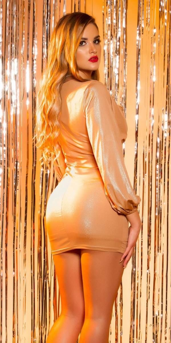 Party ruha, fényes, gs14960 - bézs