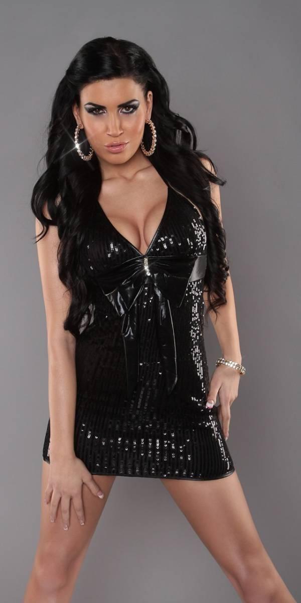 Party ruha, különleges, flitterekkel - fekete