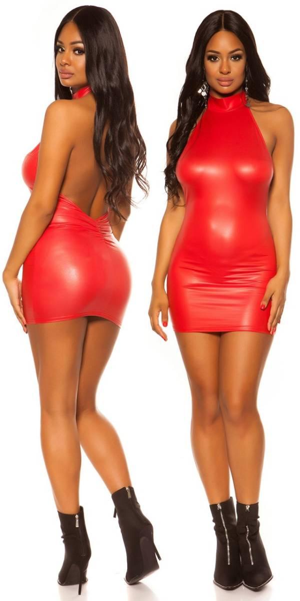 Party ruha, menő, wetlook - piros