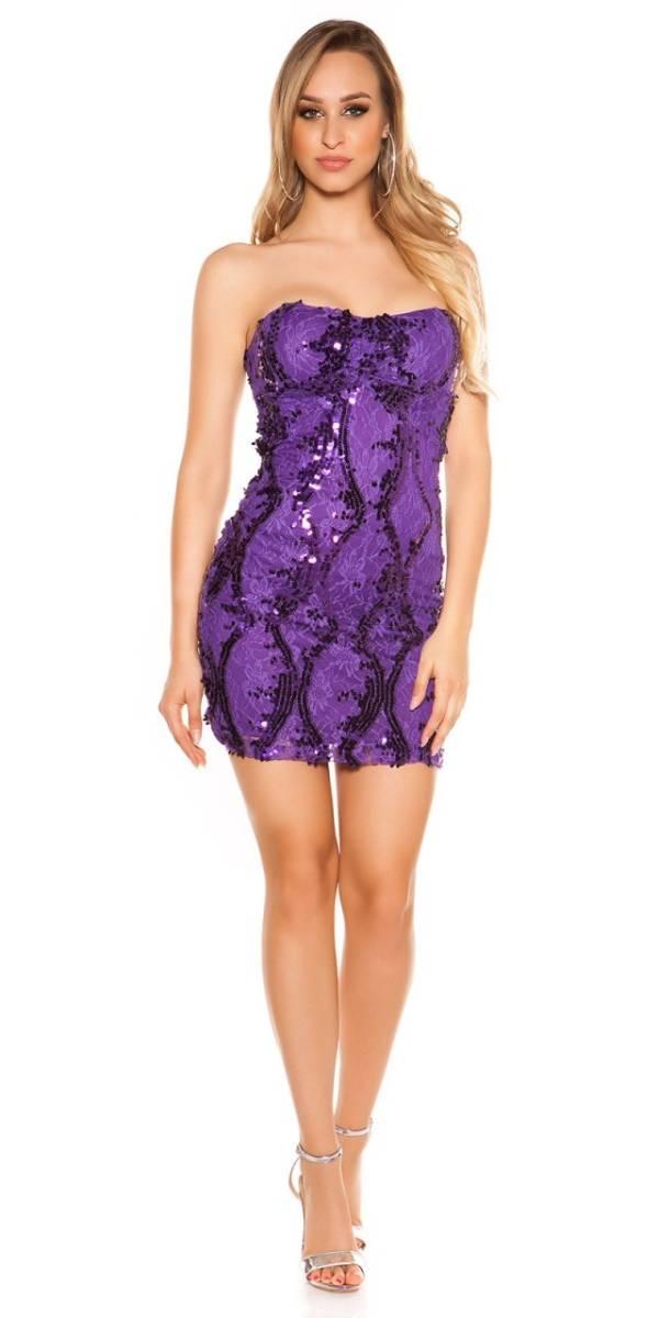 Party ruha, női, flitterekkel - lila